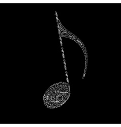 Music of a music note sign made of different fonts vector
