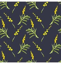 Sprig mimosa spring watercolor background vector