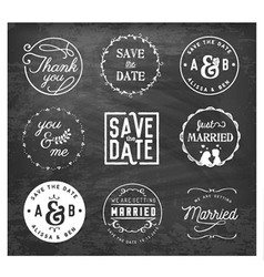 Wedding design elements badges and labels vector