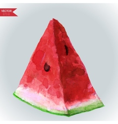 Watercolor slice of watermelon vector
