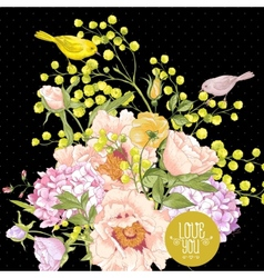 Spring floral bouquet with birds greeting card vector