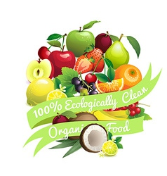 Circle shape contains different fruits with ribbon vector
