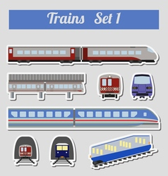 Train icon set subway monorail funicular transport vector
