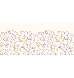 Embroidered flowers horizontal seamless pattern vector
