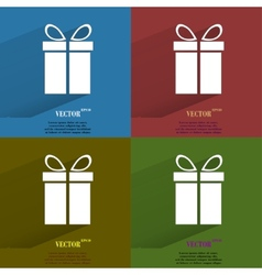 Color set gift web icon flat design vector