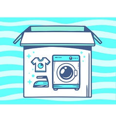 Open box with icon of washing machine on vector
