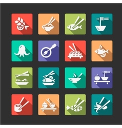 Flat seafood icons vector