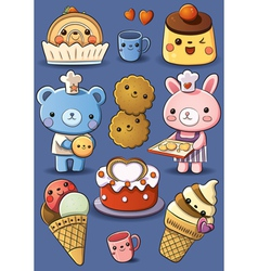 Cute cakes and ice cream vector