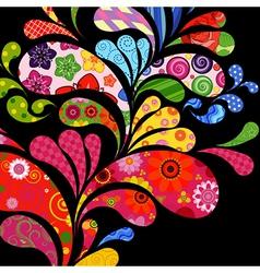 Floral and ornamental drops vector