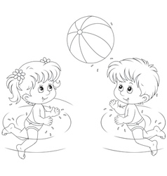Girl and boy play a ball in water vector