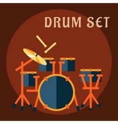 Drum set with sticks in flat style vector