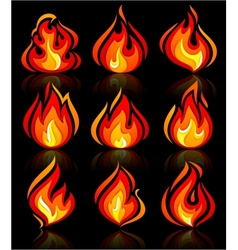 Fire flames new set with reflection on a vector