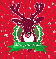 Winking and show its tongue deer with christmas vector