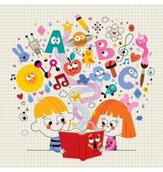 Boy and girl reading book education concept vector