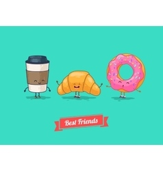Funny cartoon funny coffee croissant vector