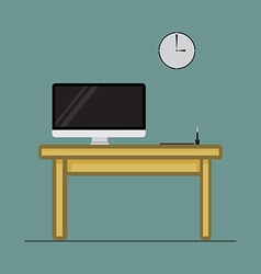 Computer desktop with pen tablet on wood table vector