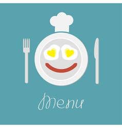Plate with eggs heart and sausage fork knife hat vector