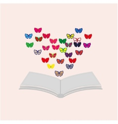 Book and butterflies vector
