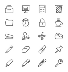 Office supplies thin icons vector