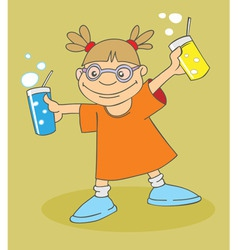 Girl with drinks vector