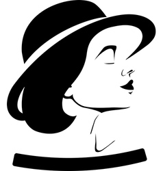 Profile of a girl in a hat vector