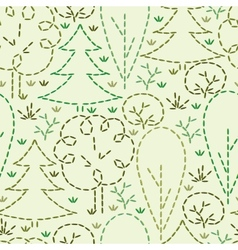 Embroidered forest seamless pattern background vector