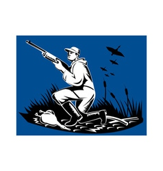 Hunter aiming shotgun rifle at duck vector