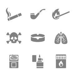 Smoking silhouette icons set 9 elements vector