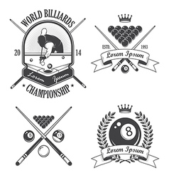 Set of billiards emblems labels and designed eleme vector