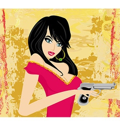 Beautiful sexy girl holding gun vector
