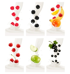 Colorful fresh fruits falling into the milky vector