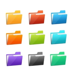 Many rainbow folders set on the white vector
