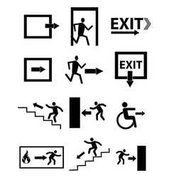 Exit sign icons set vector