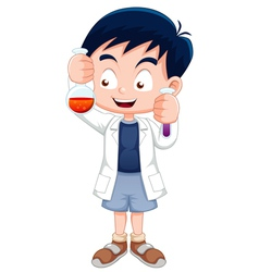 Little boy holding test tube vector