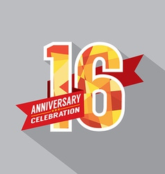 16th years anniversary celebration design vector