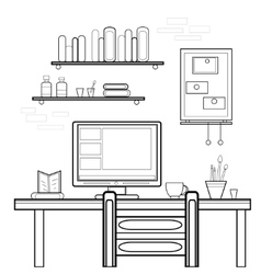 Home workplace flat design workspace for vector