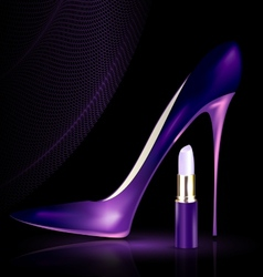 Shoe and lipstick in purple vector