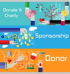 Flat style charity sponsorship and donor banners vector