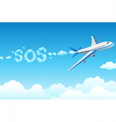 Aero plane with cloudy sos vector
