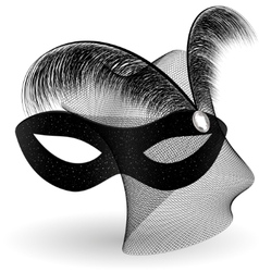 Black carnival half-mask and feathers vector