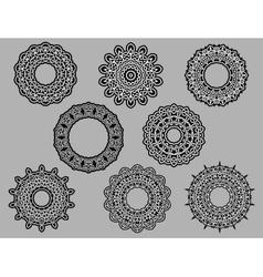 Circle vignette lace ornaments vector