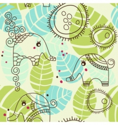 Cartoon elephants pattern vector