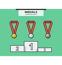 Set from medals and a sports pedestal vector
