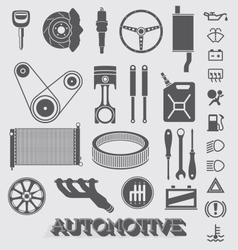 Automotive parts and icons vector
