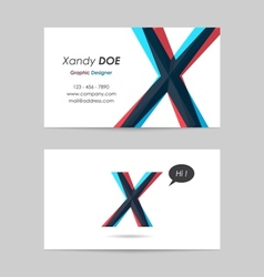 Business card template - letter x vector