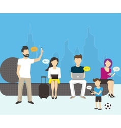 Group of people using electronics devices vector