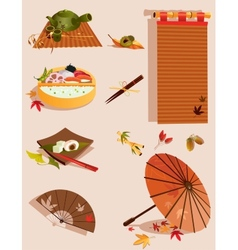 Set of objects related to japanese culture vector