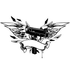 Machine gun with wings and ribbon vector