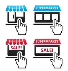 Shop supermarket sale icons with cursor hand ico vector