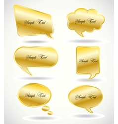 Set golden speech bubble vector